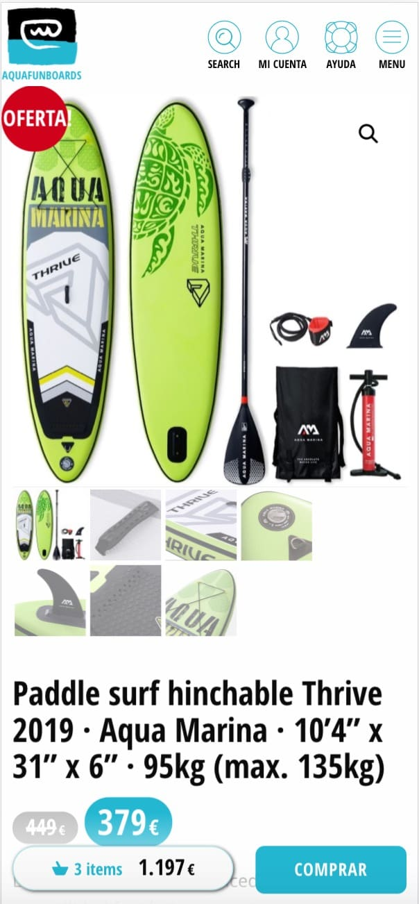 Aquafun Boards mobile producto