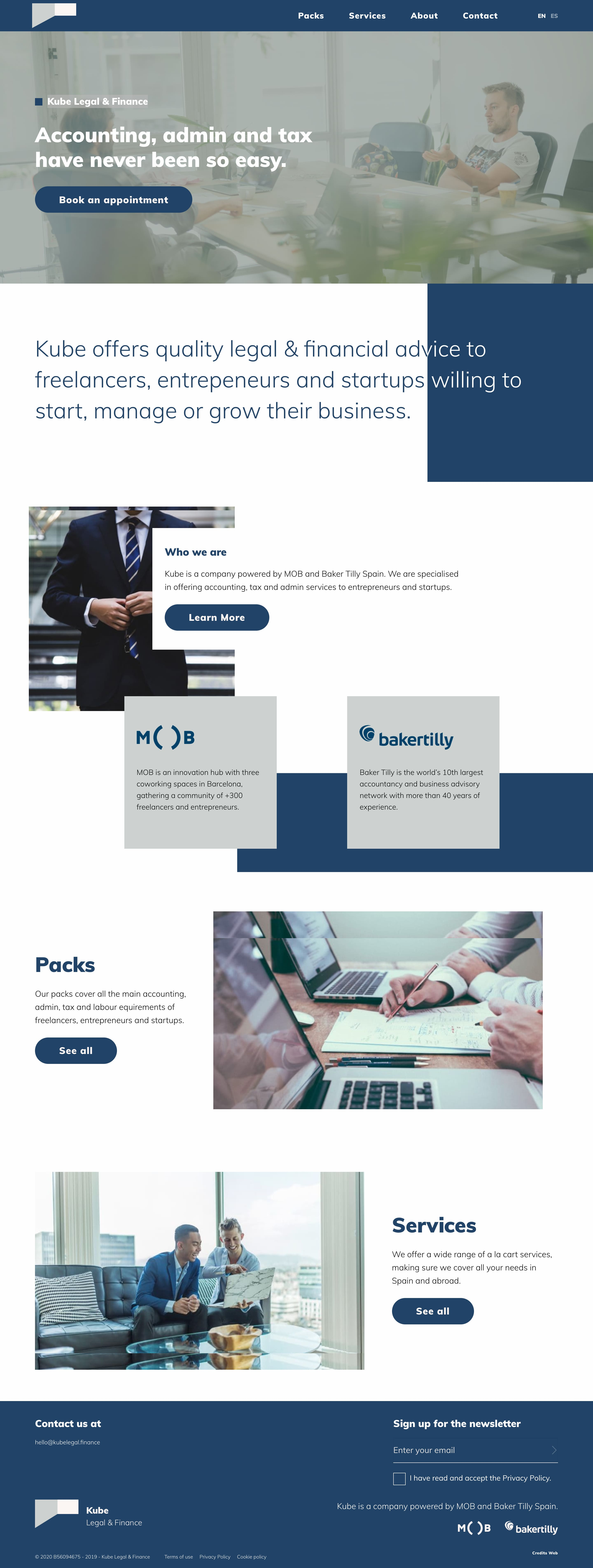 Home página web Kube