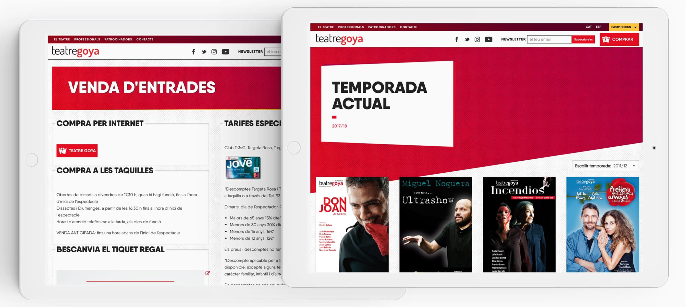 teatre goya barcelona diseño web