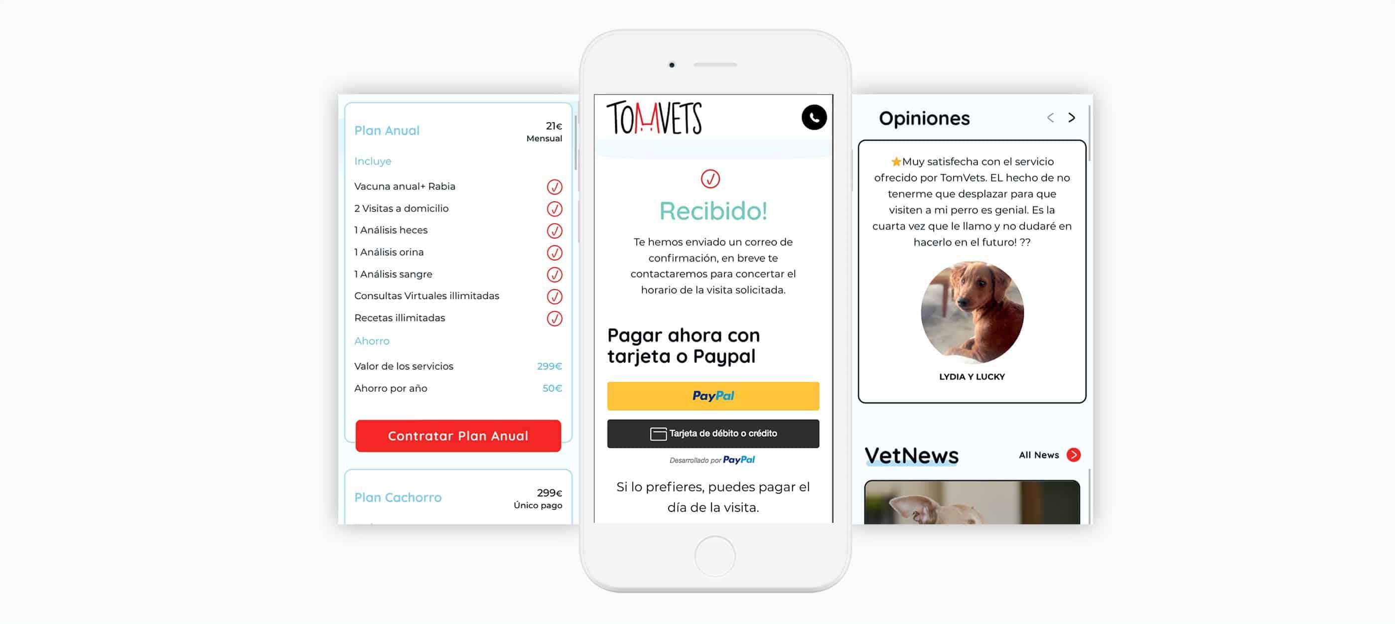 tomvets website responive design