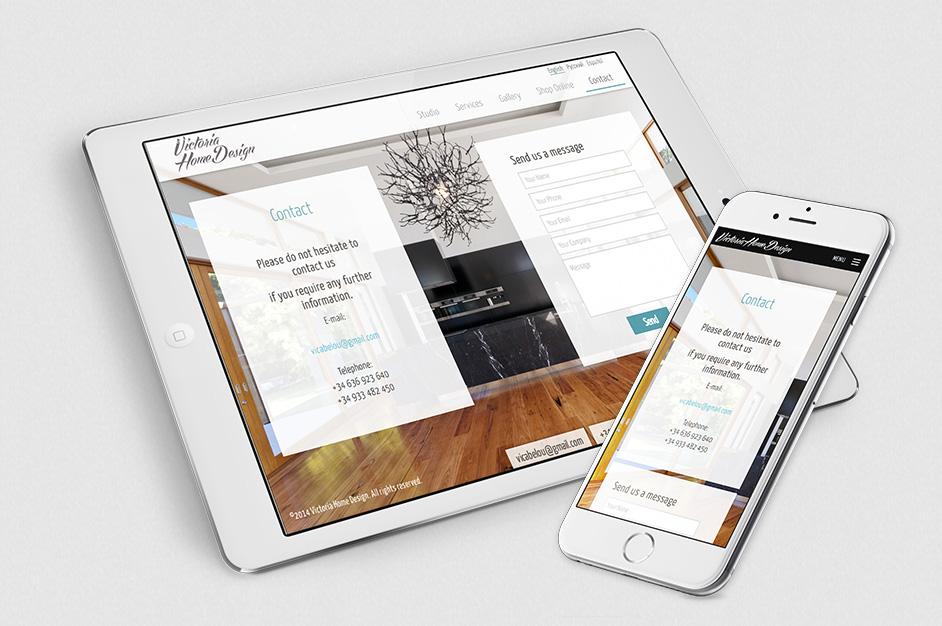 Página web de Victoria home design Barcelona